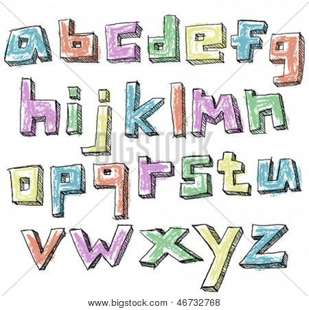 Colorful sketchy hand drawn lower case alphabet