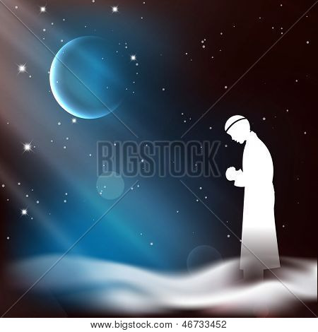 Muslim man in traditional outfits praying (reading Namaz, Islamic Prayer) on shiny moon and stars night background.