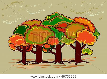 Four trees in autumn time
