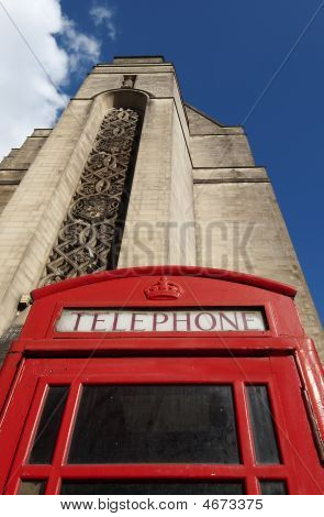 Red Telephone Box And Town Hall, Manchester, England
