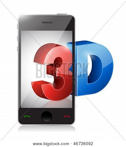 Phone With A 3D Screen. Illustration Design