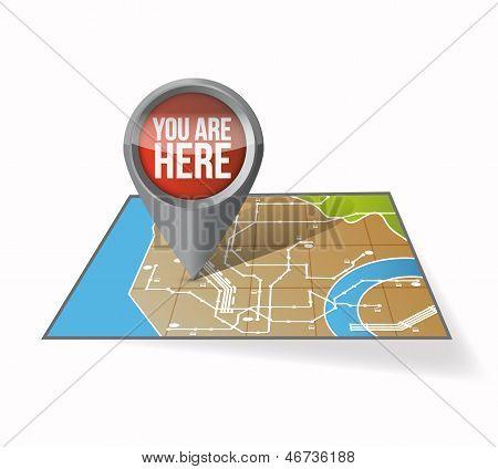 Uw huidige locatie aanwijzer illustratie