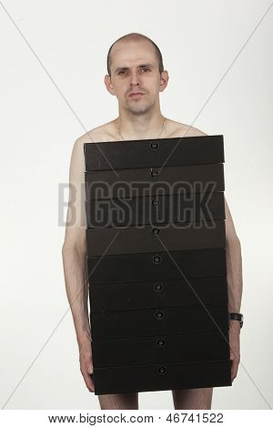 Naked Man Holding Folders And Hiding Private Parts