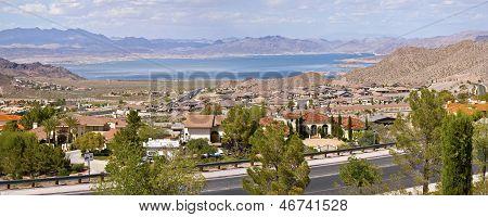 Lake Meade Bolder City Nevada Suburb And Mountains Panorama.