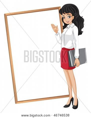 Illustration of a woman in front of the empty whiteboard on a white background