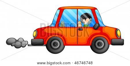 Illustration of an orange car emitting a dark smoke on a white background