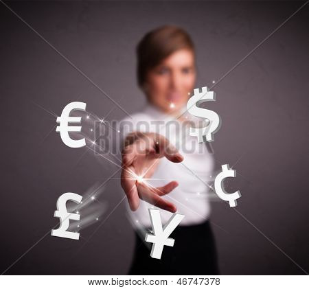 Pretty young lady throwing currency icons