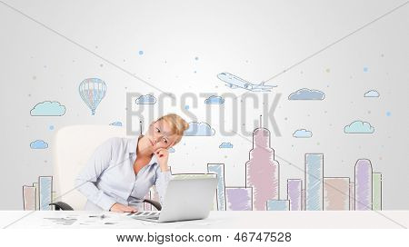Attractive young businesswoman with colorful city sky-scape background