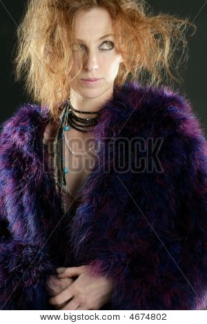 Beautiful Sexy Redhead Woman, Coat And Jewelry