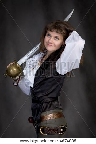 Pirate - Girl With A Sabre In Hand On A Black