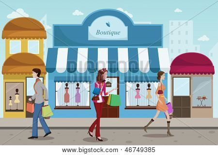 People Shopping In An Outdoor Mall With French Boutique Style