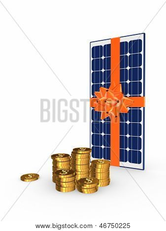 Solar battery and golden coins.