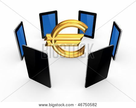 Tablet PCs around sign of euro.