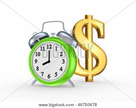 Reloj verde y signo de dólar.