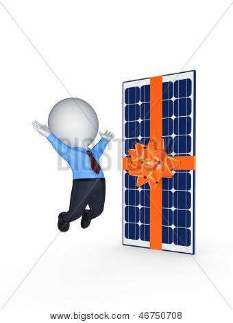 Happy 3d small person and solar battery.