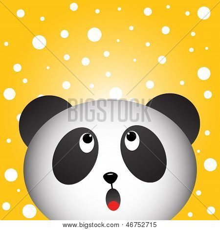 Panda and snowy background