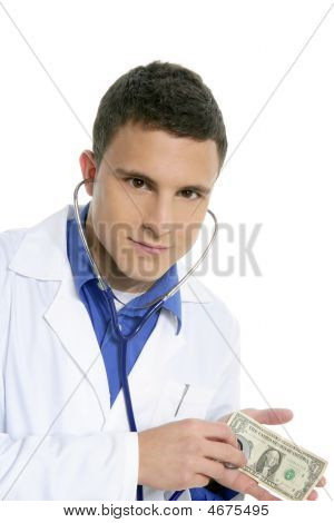 Doctor Taking Care Of Dollar Note Health