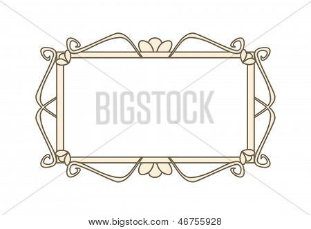 Empty retro art deco vector frame. Cute pink whimsy hand drawn design element