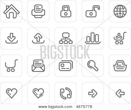 Plain Icon Set: Website And Internet