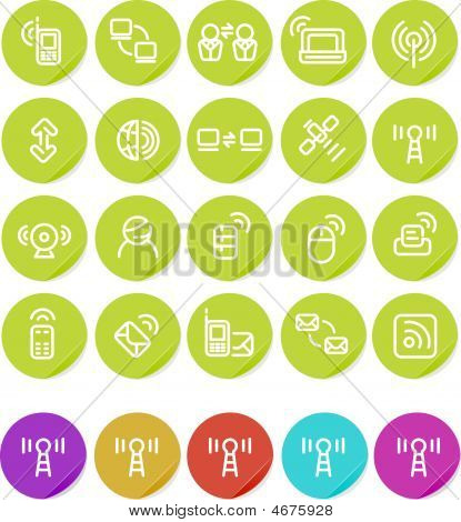 Plain Aufkleber Icon-Set: Wireless und Technologie
