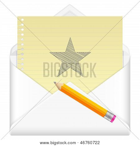 Envelope With Drawing Star Symbol