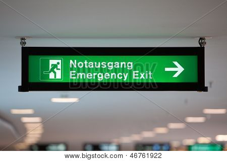 Illuminated Green Emergency Exit Sign
