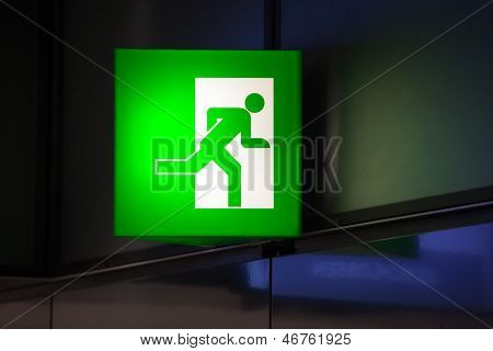 Illuminated Green Exit Sign