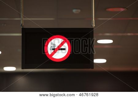 Non Smoking Sign Hanging From The Ceiling