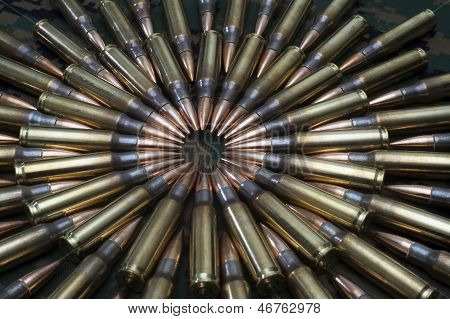 Close up of rifle ammunition