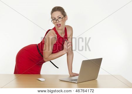 Sexy Assistant/executive Giving Spicy Pose