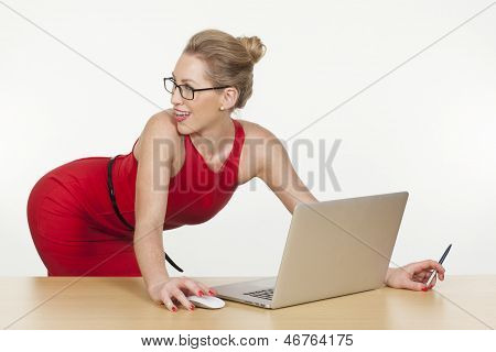 Sexy Secretary/assistant Posing While Working