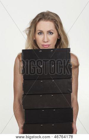 Gorgeous Female Carrying Many Folders