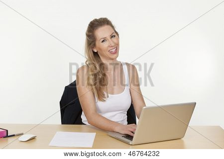 Smiling Female Executive Working On A Laptop