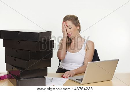 Young Female Executive Tired Of Heavy Pending Work