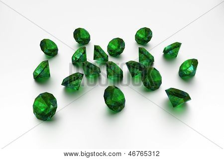3D Emeralds - 18 Green Gems