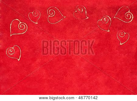 Curlicue Hearts On A Red Background