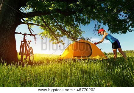Young sporty lady setting up a tent in a meadow under big oak's brunch