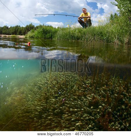 Young man fishing on a green pond's coast with underwater view of weed on a bottom