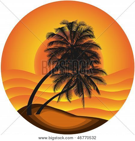 Vector Illustration Of A Sea Landscape With A Palm Tree