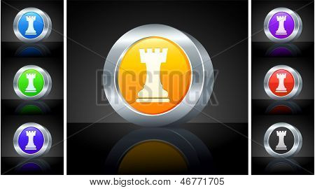 Chess Rook Icon on 3D Button with Metallic Rim Original Illustration