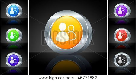 User Group Icon on 3D Button with Metallic Rim Original Illustration