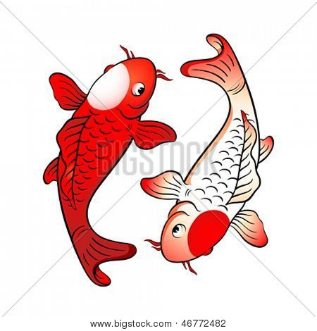 Koi fishes yin yang with japanese flag symbol
