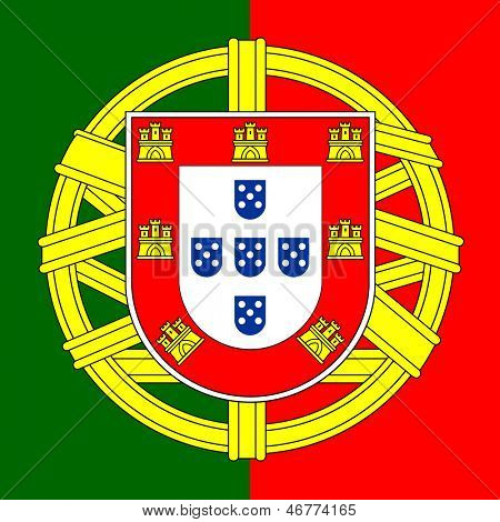Portugal flag coat of arms, Portuguese shield, vector illustration.
