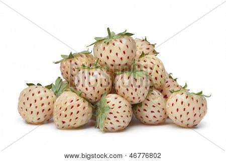 Fresh pineberries on white background