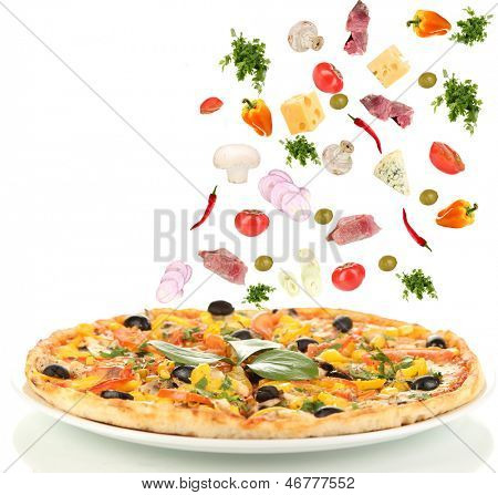 Pizza and ingredients  isolated on white
