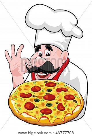 Vector Cartoon Chef With Italian Pizza