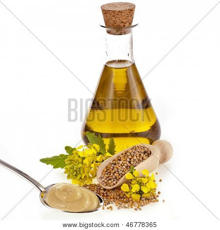oil glass jar , seeds, and mustard flower blossom isolated on white background