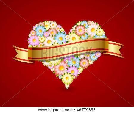 Floral Heart With Ribbon