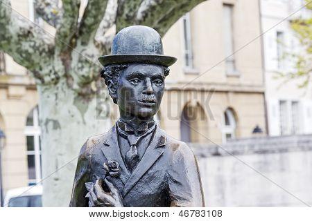 Charlie Chaplin Statue Closeup