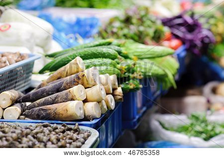 Vegetable Stall At Chinese Food Market, Shanghai
